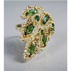 A Ladies 14 kt Yellow Gold and Peridot Ring.