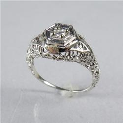 A Ladies 14 kt White Gold and Diamond Deco Style Ring.
