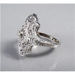 A Ladies 14 kt White Gold and Diamond Victorian Style Ring.