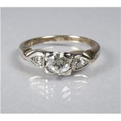 A Ladies 14 kt Rose and White Gold, Diamond Ring,