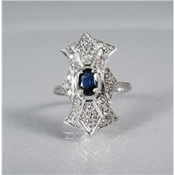 A Ladies 14 kt White Gold, Sapphire and Diamond Melee Ring,