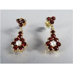 A Pair of Gold Vermeil, Garnet and Seed Pearl Drop Earrings.
