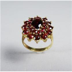 A Ladies Gold Vermeil and Garnet Ring.