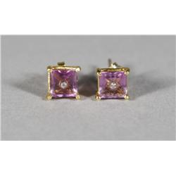 A Pair of Ladies 18 kt Yellow Gold and Natural Untreated Square Cut Amethyst,