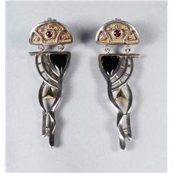 A Pair of Contemporary Sterling Silver and Gold Vermeil, Garnet and Black Onyx Drop Earrings.