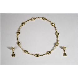 Alex Sepkus for Potter Mellen 18 kt Yellow/Green Gold, Blue Topaz Necklace and Earring Set,