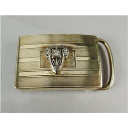 A Ladies 14 kt Yellow and White Gold, Diamond Belt Buckle,