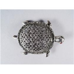 A Sterling Silver and Marcasite Turtle Form Brooch.