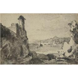 After John Constable (1776-1837, British) Landscape Study, Watercolor,