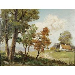 Artist Unknown (20th Century) Landscape, Oil on Canvas laid down on board,