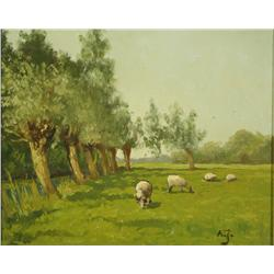 Artist Unknown (20th Century) Sheep in Landscape, Oil on Canvas,