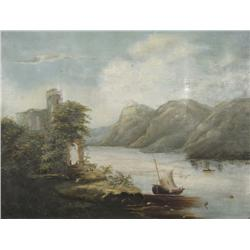 Artist Unknown, Mountain Scene with Lake, Oil on Canvas,
