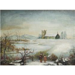 After William M. Hart (1823-1894) Winter Landscape, Oil on Canvas, Laid down on Board,