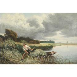 G. Harding (19th Century) On the North Folk Broads, Oil on Canvas,