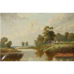 Frederick B. Cook (1878-1891, British) Pastoral River Landscape, Oil on Canvas,