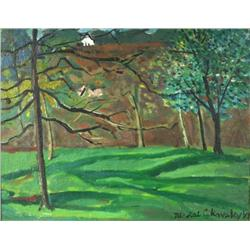 Nicolai Cikovsky (1894-1987, Russian/American) Forest Scene, Oil on Canvas Laid on Panel,
