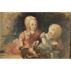 John Neagle (1796-1865, American) Sketch for the Philadelphia Museum Ptg, Oil on Paper on Artist Boa