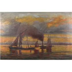 C. B. Duffy (20th Century) Harbor Scene, Oil on Canvas