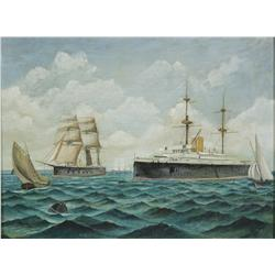 Artist Unknown (19th Century) Ships at Sea, Oil on Canvas,