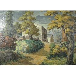 Artist Unknown (20th Century) Landscape with House, Oil on Canvas.