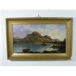 Artist Unknown (20th Century) Mountain Scene with Lake, Oil on Canvas,