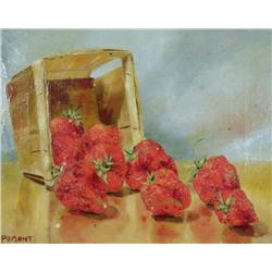 Prisant (20th Century) Fresh Strawberries, A Study, Oil on Canvas.
