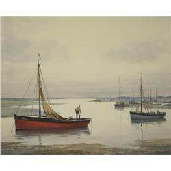 V. Hammond (20th Century) Harbor Scene, Gouache on Board,