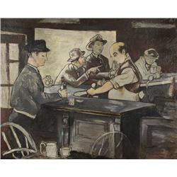 Artist Unknown (20th Century) Bar Room Scene, Oil on Board,