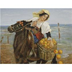 Giuseppe Palizzi (1812-1888, Italian) Seaside with Maiden and a Mule, Oil on Canvas Board,