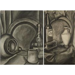Artist Unknown (20th Century) Two Charcoal Studies Charcoal on Paper,