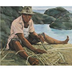 Florentine S. Hauser (20th Century) The Fisherman, Oil on Canvas,