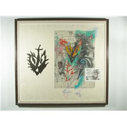 Terrance La Noue (20th Century, American) Abstract, Woodblock, lithograph, etching, hand colored,