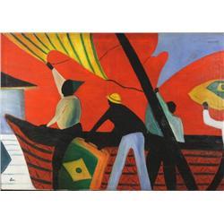 Artist Unknown (20th Century) Brazilian Sailors, Oil on canvas,