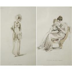 A Pair of English Fashion Prints from the 19th Century,