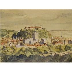Skebe (20th Century) City of Graz, Austria, Watercolor on Paper,