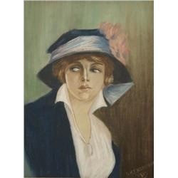 O. H. Thompson (20th Century) Portrait of a Lady, Pastel on Paper,