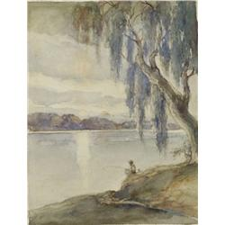Fred A. Schnaple (1872-1948, American) Old Man River, Watercolor on Board,