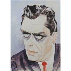 John Johns (20th Century) Portrait of Raymond Burr, Gouache on Board,