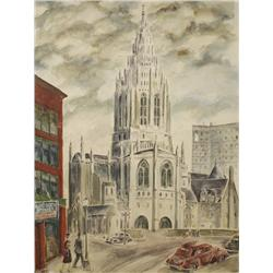 Raymond Calcey (20th Century, American) Church in Pittsburgh Street Scene, Watercolor on Board,