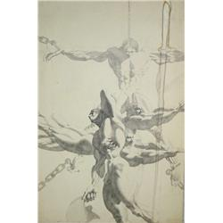 Thomas E. Gordon (20th Century) Untitled, Ink on Illustration Board,