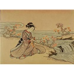 Suzuki Harunobu (1725-1770, Japanese) A Girl As Kiku-Jido, Print,
