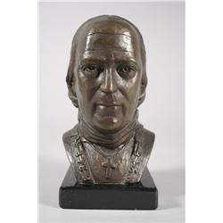 William McVey (20th Century) Bust of John Caroll, Bronze,