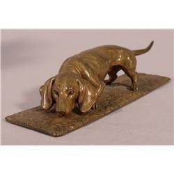A Bronze Figure of a Dachshund, 19th Century,