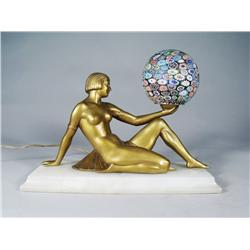 An Art Deco Style Figural Gilt Metal and Glass Lamp.
