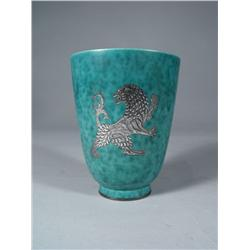 A Gustavsberg Argenta Pottery Vase with Silver Overlay.