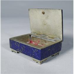 A Lapis Lazuli and Silvered Metal Lidded Box.