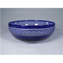 A Blue to Clear Glass Bowl.