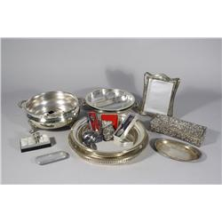 A Miscellaneous Collection of Decorative Items, Including Silver Plated Serving Items.