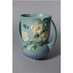 A Roseville White Rose Double Handled Vase in Blue,