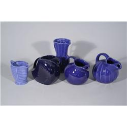 A Collection of Miscellaneous Blue Ceramic Pitchers.